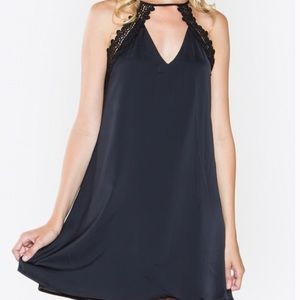SugarLips Black Shift Dress with Lace